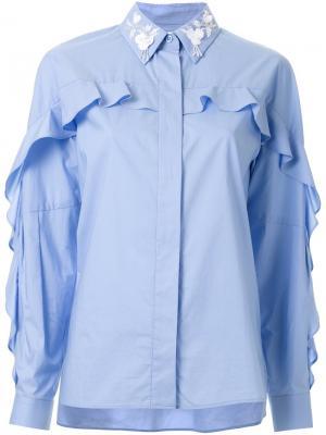 Рубашка с украшениями на воротнике Muveil. Цвет: синий