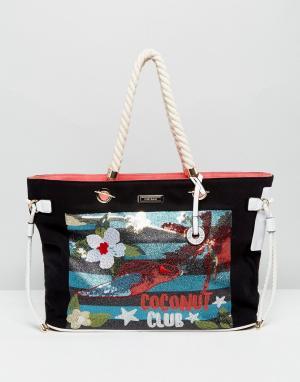 River Island Пляжная сумка-тоут с отделкой. Цвет: мульти