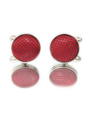 Запонки классика красная ткань Churchill accessories. Цвет: серебристый