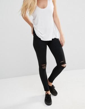 Dr Denim Рваные супероблегающие джинсы с классической талией Lexy. Цвет: черный