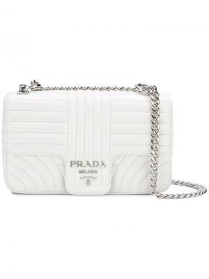 Стеганый клатч Etiquette Prada. Цвет: белый