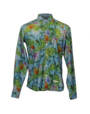 Джинсовая рубашка TINTORIA MATTEI 954. Цвет: зеленый-милитари