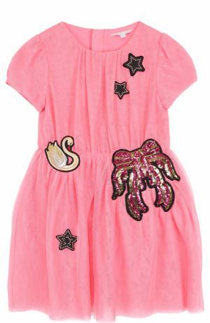 Мини-платье с аппликациями и пайетками Marc Jacobs. Цвет: розовый