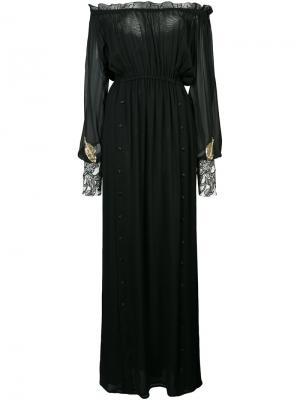 Полупрозрачное платье-макси с открытыми плечами Loyd/Ford. Цвет: чёрный