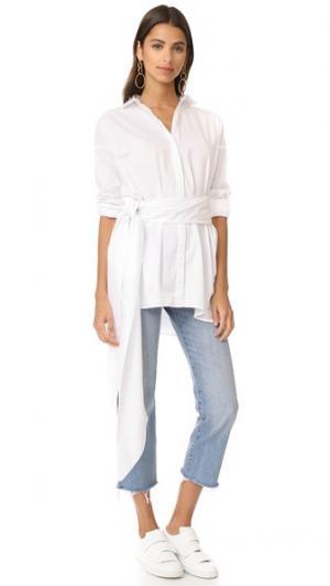 Платье-рубашка Abyss с завязкой MLM LABEL. Цвет: белый