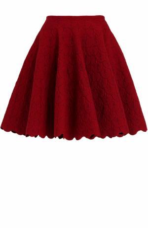 Мини-юбка с фактурной отделкой Alaia. Цвет: красный