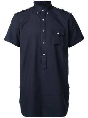 Рубашка с короткими рукавами в стиле милитари Wooster + Lardini. Цвет: синий