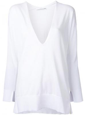 Блузка с глубоким V-образным вырезом Astraet. Цвет: белый
