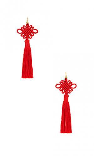 Серьги chinese good luck tassel Vanessa Mooney. Цвет: красный