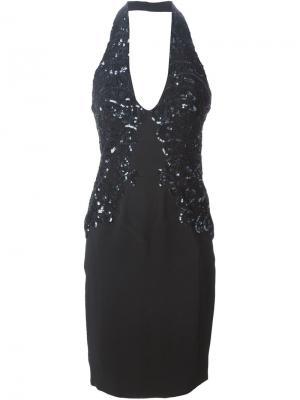 Приталенное платье с пайетками Zuhair Murad. Цвет: чёрный