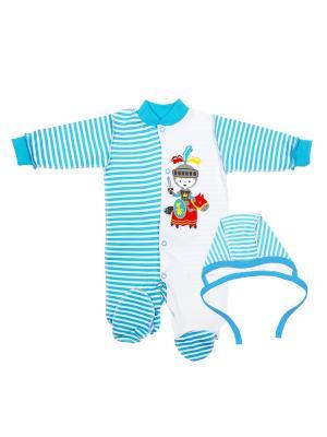 Комплект одежды: комбинезон, чепчик Коллекция Рыцари КОТМАРКОТ. Цвет: голубой, красный, белый