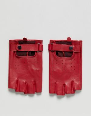 ASOS Красные кожаные перчатки без пальцев. Цвет: красный