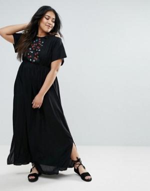 Diya Платье макси с открытыми плечами и цветочной вышивкой. Цвет: черный