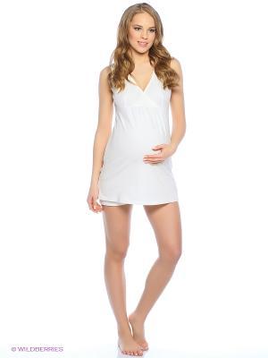 Пижама для беременных (майка с кружевом+шорты) Hunny Mammy. Цвет: молочный
