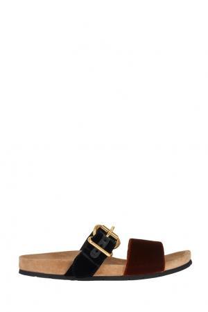 Бархатные сандалии Prada. Цвет: красный, черный