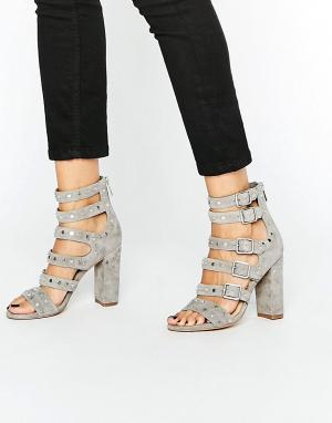 Sam Edelman Серые замшевые сандалии с ремешками и заклепками. Цвет: серый