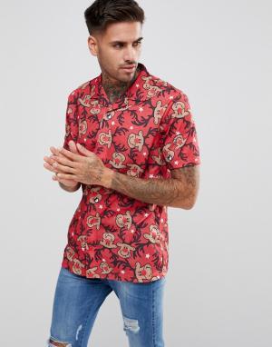 LDN DNM Рубашка в новогоднем стиле с короткими рукавами. Цвет: красный