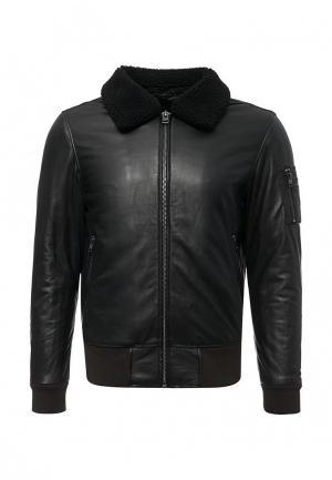Куртка кожаная Oakwood. Цвет: синий