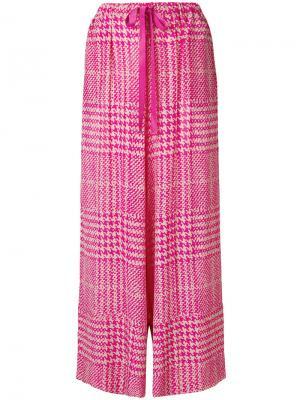 Широкие брюки в ломаную клетку Fendi. Цвет: розовый и фиолетовый