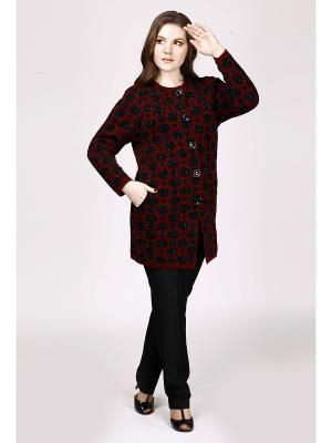 Вязаное пальто Milana Style. Цвет: бордовый