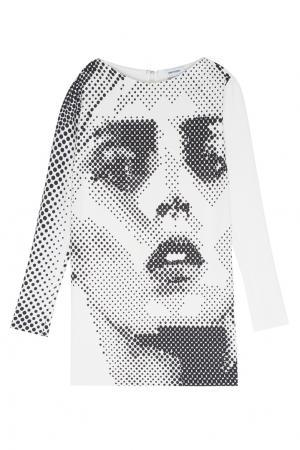 Платье с принтом Anthony Vaccarello. Цвет: черный, белый