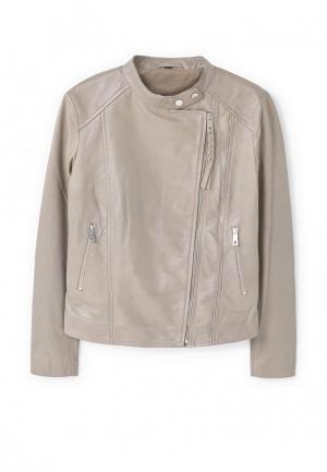 Куртка кожаная Mango. Цвет: серый