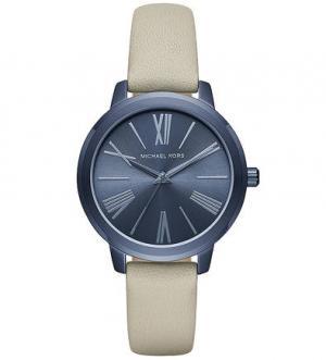 Часы с серым кожаным браслетом Michael Kors