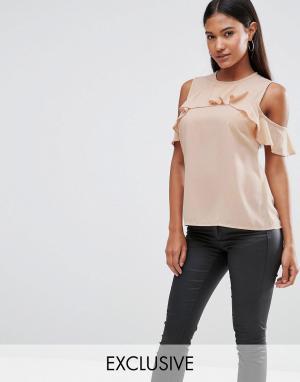 Vesper Топ с открытыми плечами и оборками. Цвет: розовый