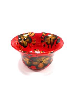 Тарелка красная с золотыми цветами Taowa. Цвет: красный, золотистый