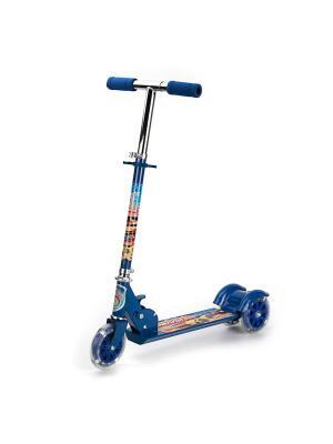 Самокат 3-колесный. стальной, колеса пвх 125 мм, макс. нагрузка до 25 кг. Next. Цвет: синий