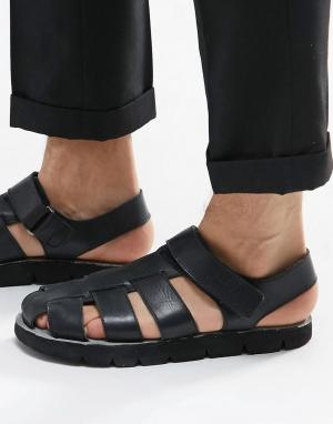 Dune Черные кожаные сандалии. Цвет: черный