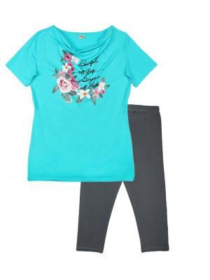 Комплект женский (туника, бриджи) Family Colors. Цвет: бирюзовый