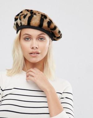 Urbancode Меховой берет с леопардовым узором. Цвет: коричневый