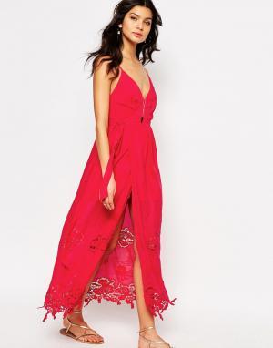 The Jetset Diaries Коралловое платье макси Lotus. Цвет: красный
