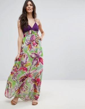 Jasmine Платье макси с тропическим принтом. Цвет: фиолетовый