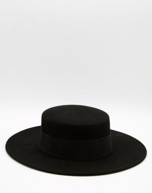 Catarzi Шляпа с плоским верхом и широкими полями. Цвет: черный