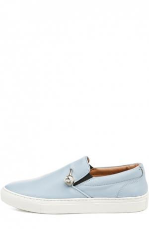 Слипоны Veronica с декоративной булавкой Coliac. Цвет: голубой