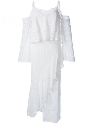 Платье с открытыми плечами Goen.J. Цвет: белый