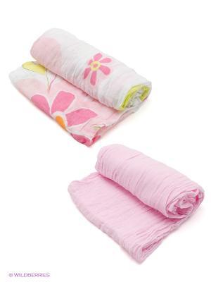 Пеленка, 2 шт Baby Nice. Цвет: бледно-розовый, розовый, белый