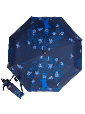 Зонт складной Moschino 242-OCF Owls Dark Blu. Цвет: темно-синий, лазурный, синий