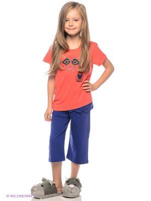 Пижама Vienetta Secret. Цвет: коралловый, синий