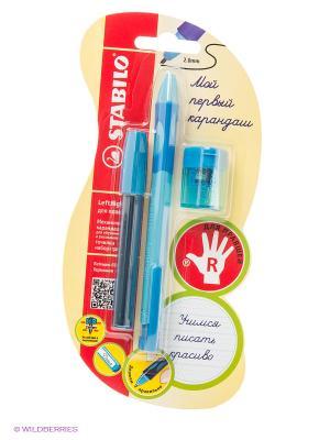 Набор: Карандаш, точилка и набор грифелей Stabilo. Цвет: голубой