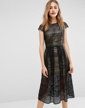 Body Frock Кружевное платье с золотистой комбинацией металлик. Цвет: черный