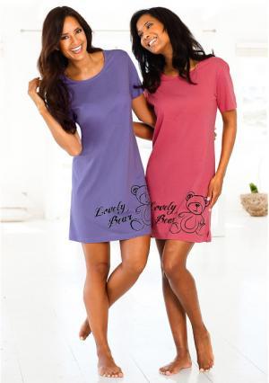 Ночная сорочка, 2 штуки VIVANCE. Цвет: сиреневый+ягодный