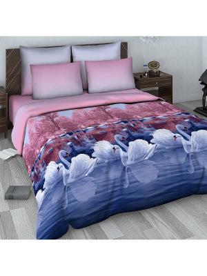 Комплект постельного белья из сатина Евро Василиса. Цвет: синий, бледно-розовый