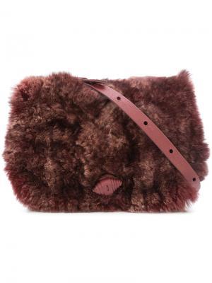 Сумка через плечо с кроличьим мехом Henry Beguelin. Цвет: розовый и фиолетовый