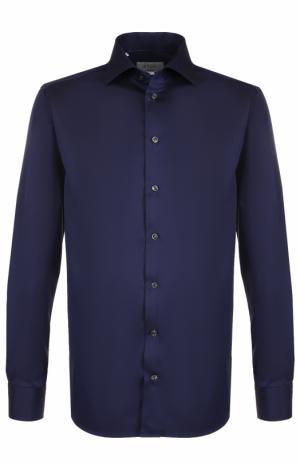 Хлопковая сорочка с воротником кент Eton. Цвет: темно-синий