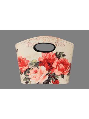 Сумочка интерьерная для хранения Розы EL CASA. Цвет: бежевый, красный, зеленый