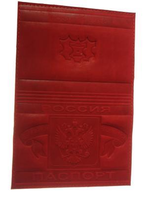Обложка на паспорт с тисненным гербом, кожа, бардовый Радужки. Цвет: бордовый