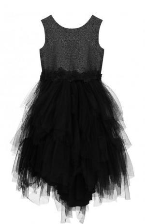 Платье с металлизированной отделкой и многослойной юбкой Aletta. Цвет: черный
